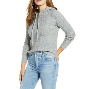 Court and Rowe Hooded Cable Knit Sweater Heather